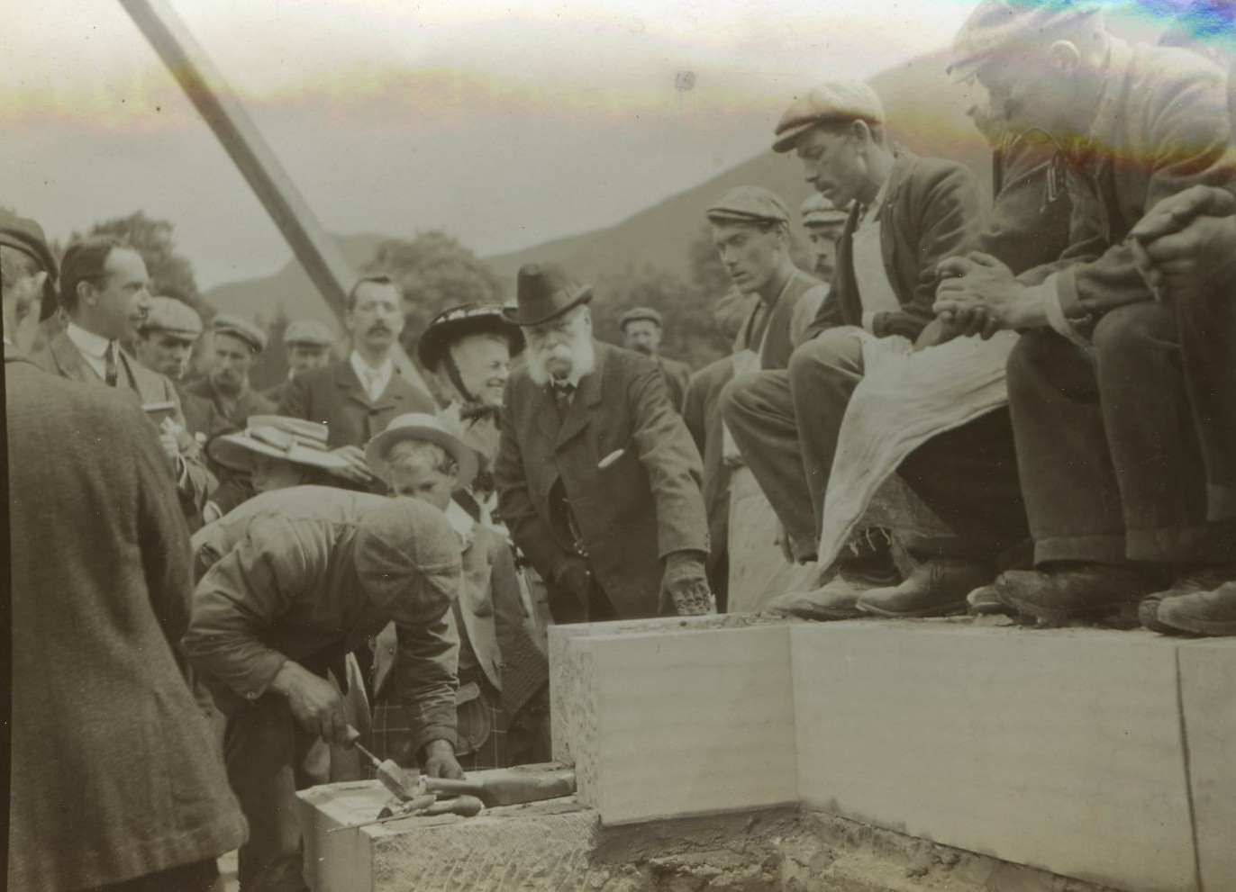 Laying the foundation stone for Ardkinglas