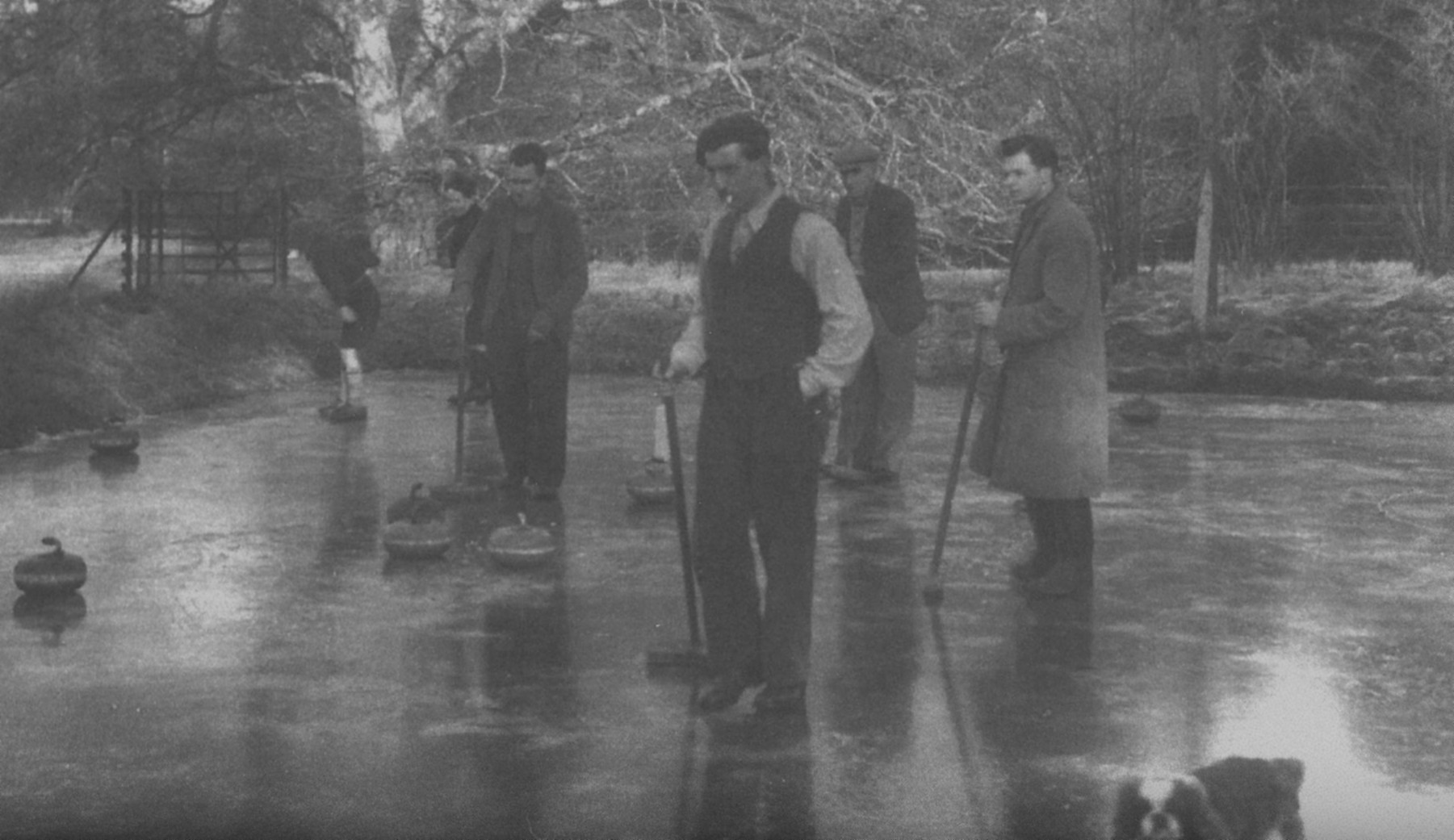 Curling on the curling pond at Ardkinglas