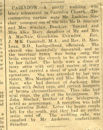 Newspaper cutting off Lachie Sinclair & Alice McNair's Wedding