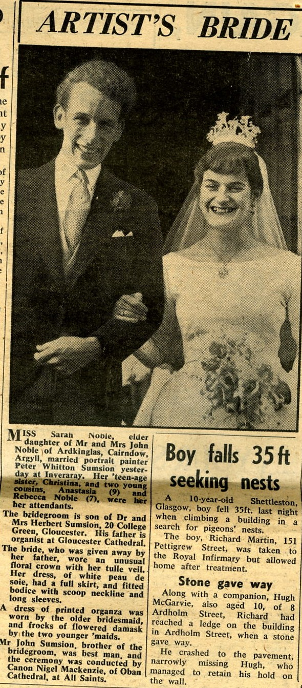 Newspaper cutting off Peter Sumsion & Sarah Noble's Wedding