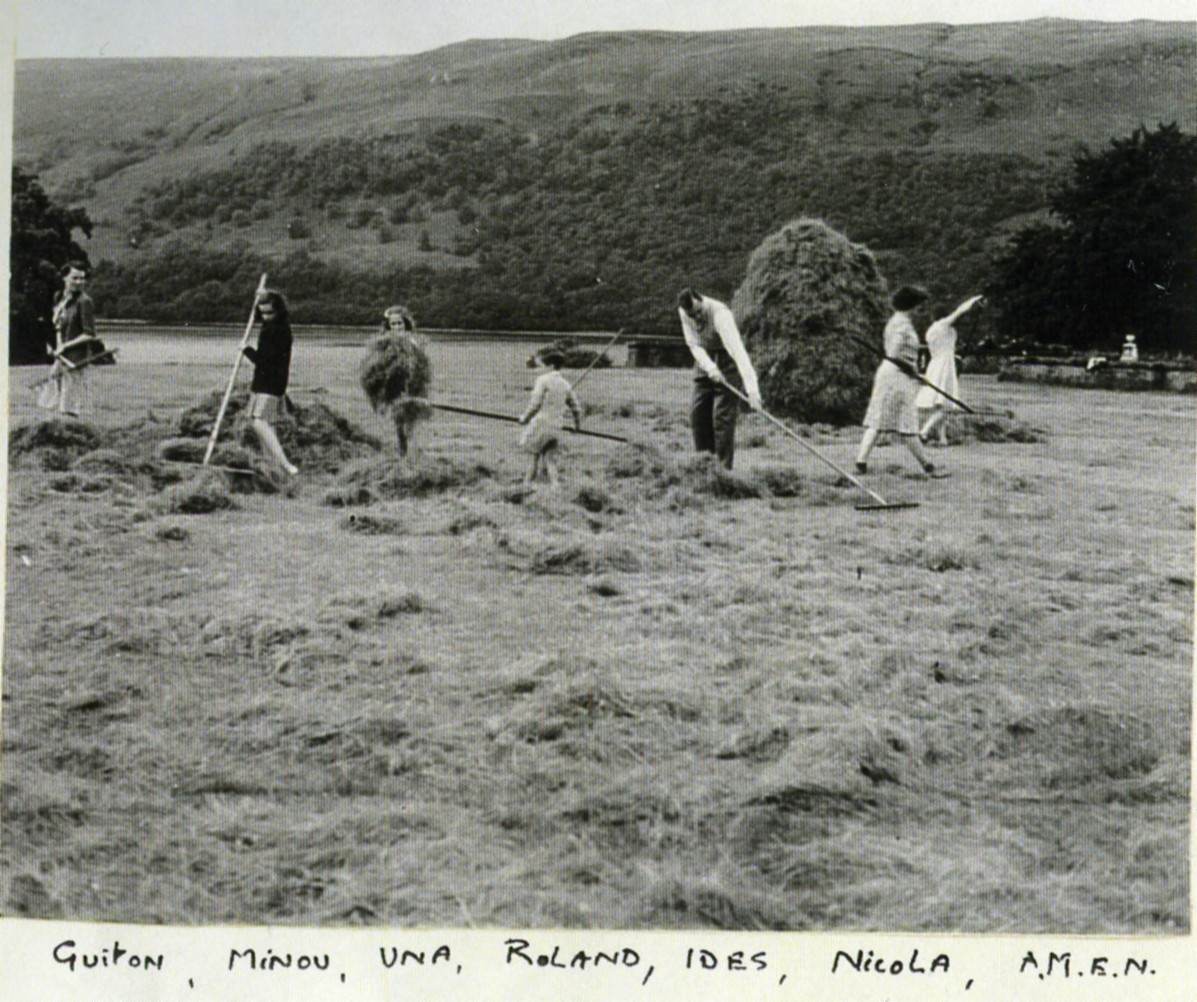 Haymaking at Ardkinglas (terraces & tennis court)