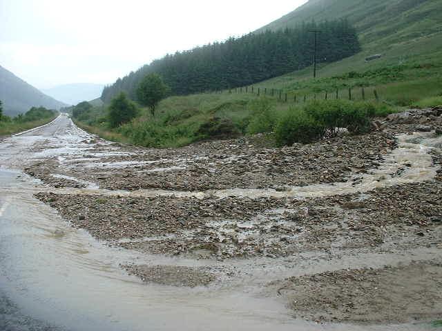 Landslide up Glen Kinglas