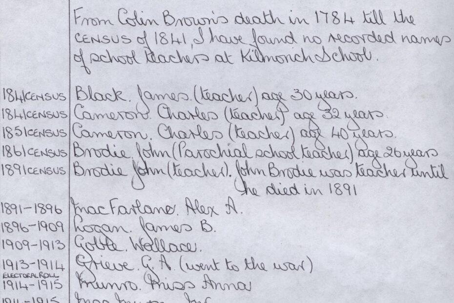 Names of Teachers a Kilmorich School 1784 - 1988