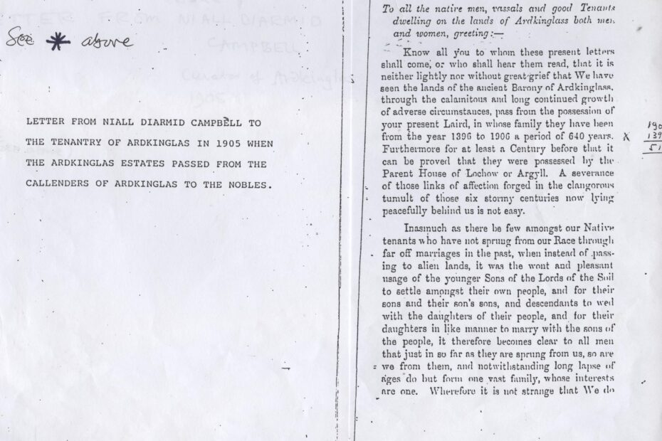 Letter from Duke Niall Diarmid Campbell when Ardkinglas Estate was sold