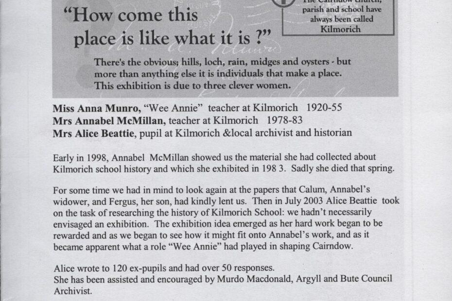 leaflet for Kilmorich School Exhibition