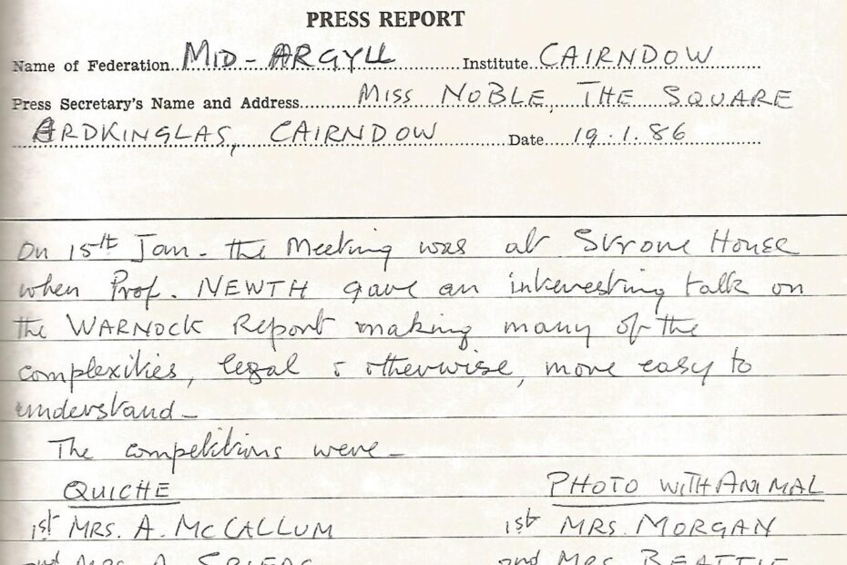 Press Secretary's Report 1986